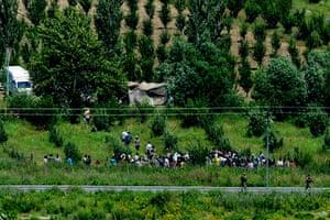 Syrian Refugees: Syrian refugees wait to enter Turkey