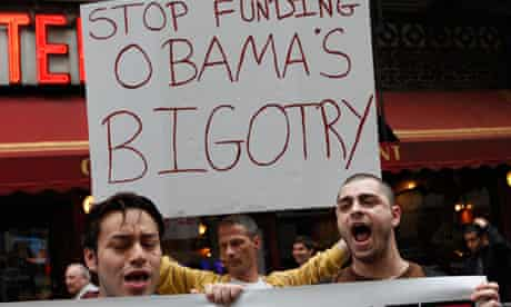 Gay rights protesters in New York where Obama attended an LGBT fundraiser