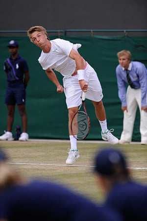 Wimbledon day 11: Liam Broady in action in the Boys' semi-final