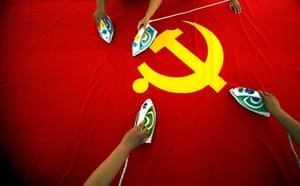 Communist Party 90th: Workers irn communist flag, 90th anniversary of Communist Party