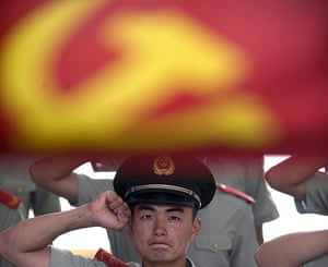 Communist Party 90th: Soliders salute, 90th anniversary of Communist Party