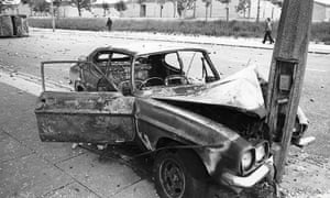 Toxteth Riots: A crashed and burnt-out car