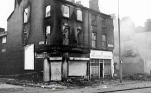 Toxteth Riots: Still smouldering buildings gutted by fires