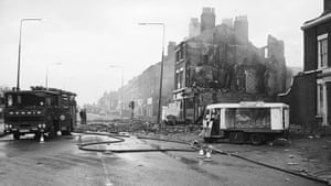 Toxteth Riots: A milk float on Upper Parliament Street