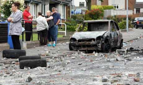 A burned care in Ballyclare after overnight rioting