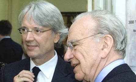 Murdoch deputy Les Hinton, left