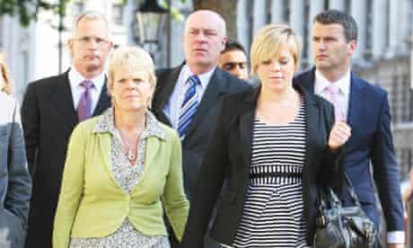 Brian Paddick, Sally Dowler, Bob Dowler, and Gemma Dowler arrive at the Cabinet Office