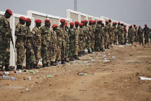 FTA: David Azia: SPLA soldiers stand guard during independence celebrations in Juba