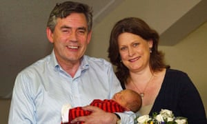 Gordon Brown with his wife, Sarah and new baby boy, James Fraser Brown, 21 July, 2006.