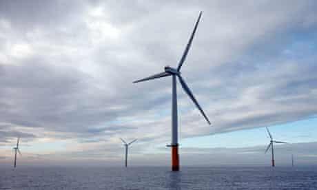 Wind turbines off the coast of north Lincolnshire
