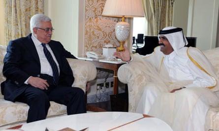 Emir of Qatar meets Palestinian President Abbas