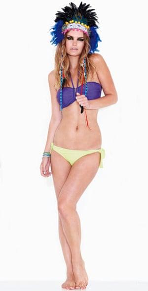 Line-up: bikinis: Purple ruched top