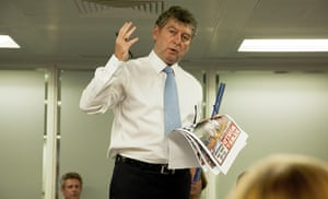 Editor of the News of the World Colin Myler addresses staff