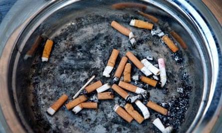Cigarette butts outside a bingo hall