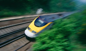 High-speed Eurostar train in Kent