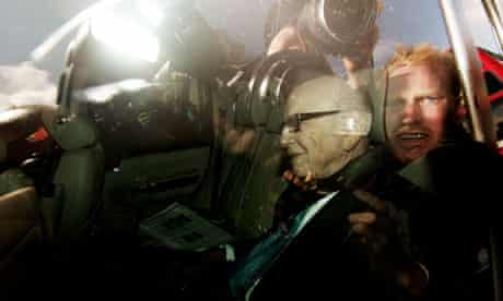 Rupert Murdoch is driven along Whitehall to attend a parliamentary committee hearing