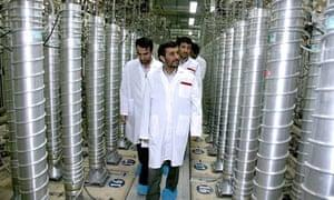 Iranian President Mahmoud Ahmadinejad inspecting the Natanz nuclear plant