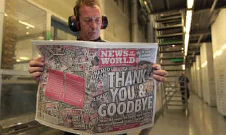 The last edition of the News of the World comes off the presses