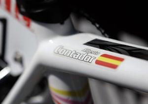 Tour de France stage 17: A close up view of the frame of Alberto Contador's bike