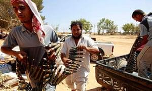 Libyan rebel fighters near Zlitan