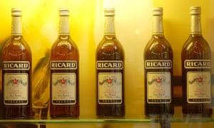 Bottles of Ricard liquor