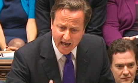 David Cameron speaks to parliament