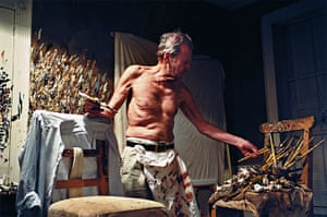 Lucian Freud Obit: British Painter Lucian Freud in his studio