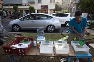 Tent City: An Israeli protester washes dishes