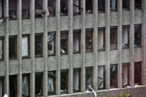 Oslo bombing: The shattered windows of a government building