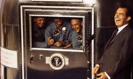 The start of spin? President Nixon with the crew of Apollo 11, 1969.