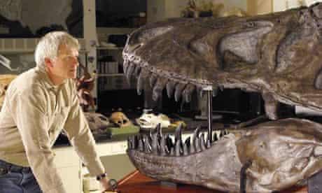 Philip Currie with a tyrannosaur skull