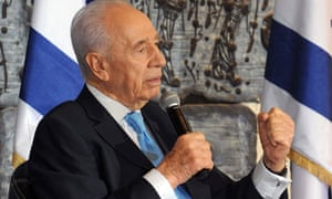 The Israeli president, Shimon Peres, at the news conference for Arabic media.