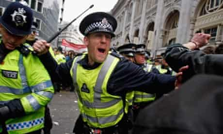 Police at the G20 protests in London in April 2009