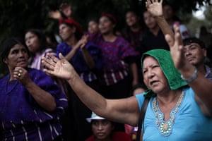 FTA: Jorge Dan Lopez: Women react during a political event for Sandra Torres