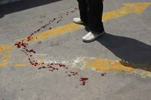 Misrata hospital: Bloodstains left by wounded fighters arriving by ambulance