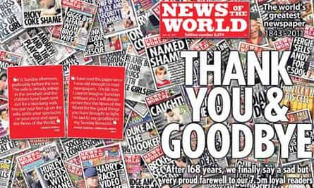 Handout shows the wraparound front page of the last edition of the News of the World newspaper
