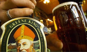 A pint of Greene King ale