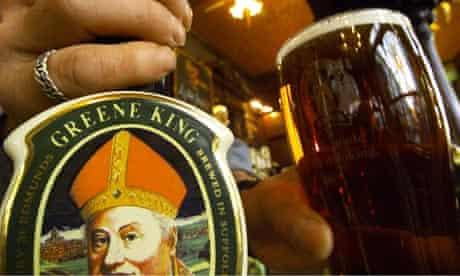 A pint of Greene King ale
