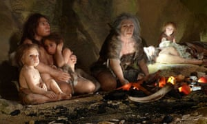 Neanderthal family in a cave (reconstruction)