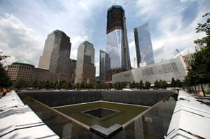 September 11 Memorial: A general view of the south pool waterfall under construction