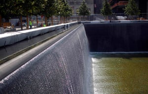 September 11 Memorial: The south pool waterfall is tested