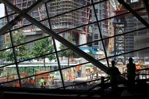 September 11 Memorial: Workers are seen inside the National September 11 Museum