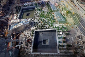 September 11 Memorial: The memorial plaza with the North and South pool waterfalls