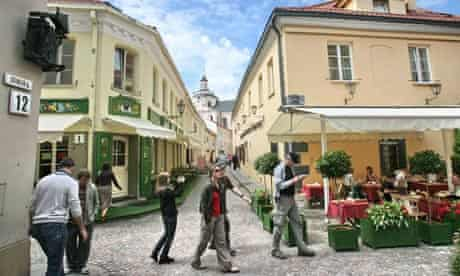 This picture taken in Vilnius on July 22