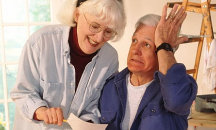 Older couple work on a home improvement project