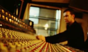 working on sound desk