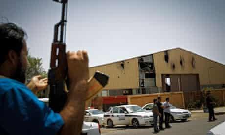 Libyan police and miltia guard hangar in Benghazi