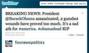 Fox News S Hacked Twitter Feed Declares Obama Dead News The Guardian