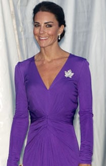 The Duchess of Cambridge wearing a maple leaf brooch