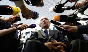 German Finance Minister Wolfgang Schäuble leaves the German Constitutional Court